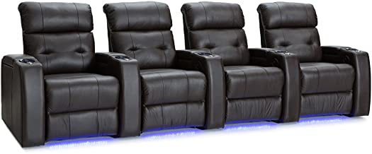Palliser Mirage Leather Home Theater Seating Power Recline - (Row of 4, Brown)