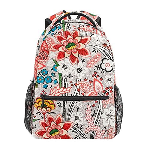 Multicolore Rosso Bianco Fiore Daypack Zaino Scuola College Viaggi Escursionismo Moda Laptop Zaino per Donne Uomini Teen Casual Borse di Tela