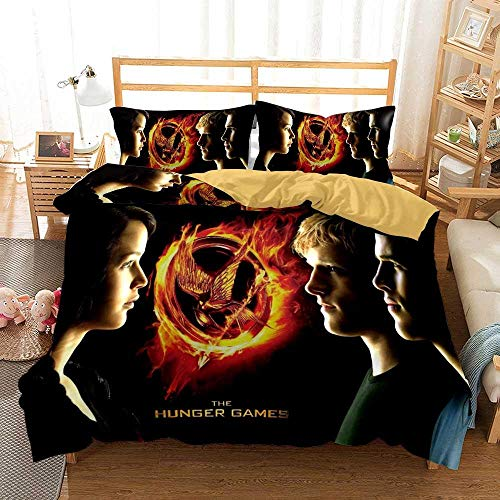Hunger Games Duvet Cover Set 135 x 200 cm Single Bedding Microfibre Duvet Cover Set with Zipper Closure with 1 Pillowcase 50 x 75 cm Ultra Soft Hypoallergenic