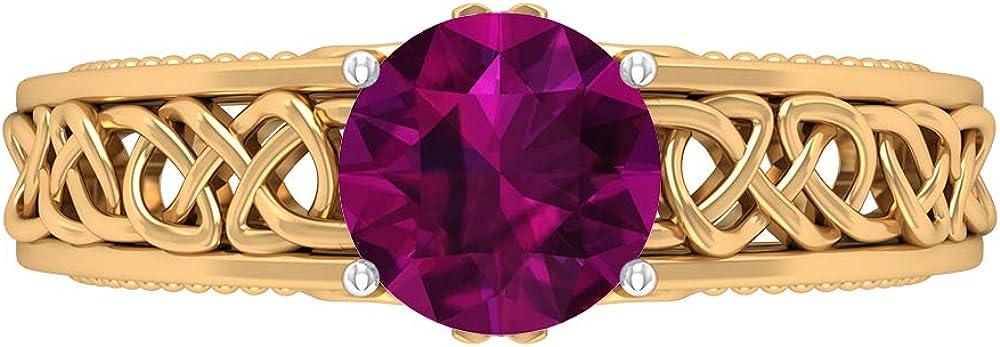 7 MM Rhodolite Ring, Celtic Knot Engagement Ring, D-VSSI Moissanite Ring, Solid Gold Wedding Band Ring, 14K Gold