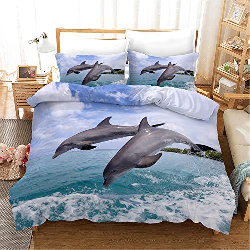Juego De Funda Nórdica Extragrande De Poliéster Suave Y Cómoda, Funda Nórdica con Estampado De Delfines De Colores 3D, 200 * 200cm