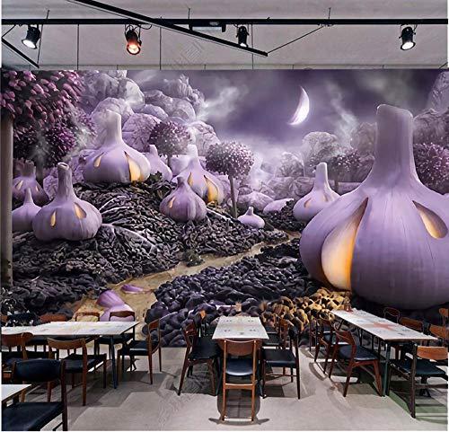MGQSS Papel pintado Mural Pintura al óleo ajo púrpura vegetal restaurante frutería 3D Auto-adhesivo PVC Fotos Papel pintado La habitación de los niños Chico Chica Dormitorio Fondo Mu (W)430x(H)300 cm