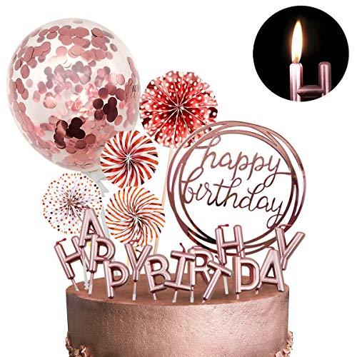 iZoeL Tortendeko Geburtstag Rosegold Happy Birthday Cake Topper Kerze Konfetti Luftballon Papierfächer Rosa Gold Kuchendeko