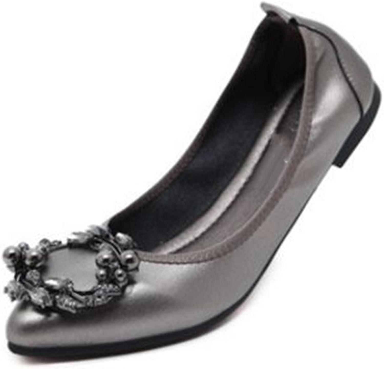Fancyww New Flat shoes Women's shoes Rhinestone Buckle Flats