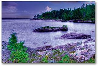 CALVENDO Lienzo de 90 cm x 60 cm, Horizontal, Sehnsucht Suecia - Gran Mar de Suecia - El Vänern en la Luna - Imagen sobre Bastidor. Calendario Sehnsucht de Suecia Lugares