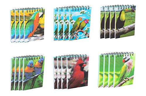 Juvale Spiral Notepads with Tropical Bird Design (2.75 x 4.25 Inches, 24-Pack)