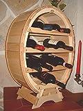 Botellero para 12 botellas de vino lacado natural en forma de barril