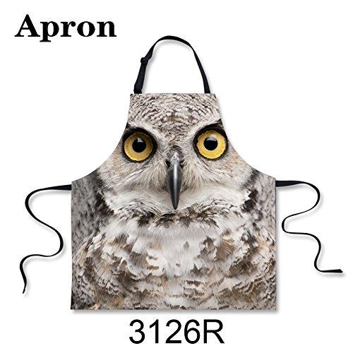 spArt Owl Schürze, niedliche Eulen-große Augen-Vogel gedruckt, Mode Pinafore Für Hausfrau und Jugendliche, Unisex Schürzen Tiermuster