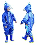 FILOWA Kids Raincoat Hooded Dinosaur Printed Boys Girls Rainsuit Puddle Suit Lightweight Overall Waterproof Blue Poncho Rainwear Portable Breathable PVC Zipper Hiking Travel Unisex 3-5 Years