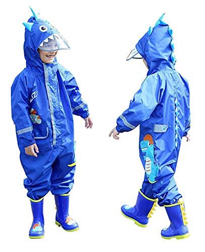 FILOWA Impermeabile Pioggia Bambini e ragazzi Impermeabile Antipioggia Tuta Blu Dinosauro Bambino con Cappuccio Poncho Portatile Jogging Tutto in Uno Giacche Impermeabili Bimbo 7-10 Anni