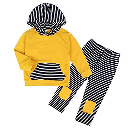 Edjude Bebé Niño Conjuntos de Sudaderas con Capucha Manga Larga Ropa Otoño Pantalones Raya 6-9 Meses Amarillo