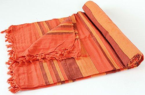 Unbekannt RIESIGE GEWEBTE TAGESDECKE/ÜBERWURF EXTRA GROß CA.2,15 X 2,45M AUS Indien 100% Baumwolle (orange-gestreift)
