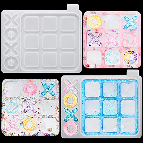 2 Pieces Tic Tac Toe Board Game Resin Molds XO Board Game Silicone Mold Family Game Epoxy XO Casting...