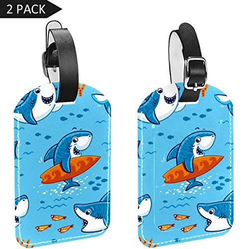 Luggage Tags Sharks Fish Coral Leather Travel Suitcase Labels 2 Packs