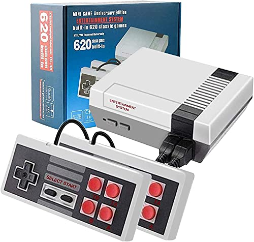 Classic Retro Game Console Mini Video Game Consoles with 620 Games - AV Output (Black-Grey)