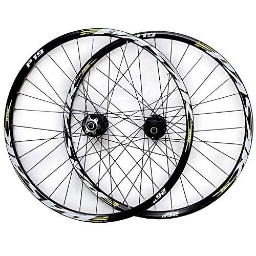 ZNND 26'/27,5'/29' Bicicleta Montaña Juego Ruedas Llanta Aleación Doble Pared Freno Disco Casete Cubo Liberación Rápida 7/8/9/10/11 Velocidad 32 Hoyos (Color : Black Hub Green Logo, Size : 26IN)
