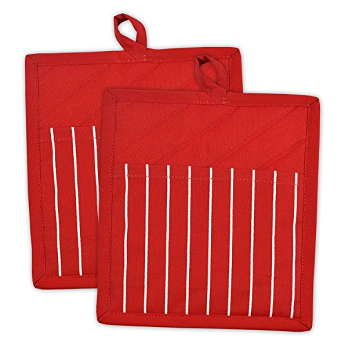 DII Professional and Commercial Grade Chef Stripe Kitchen, Potholders, Tango Red 2 Piece
