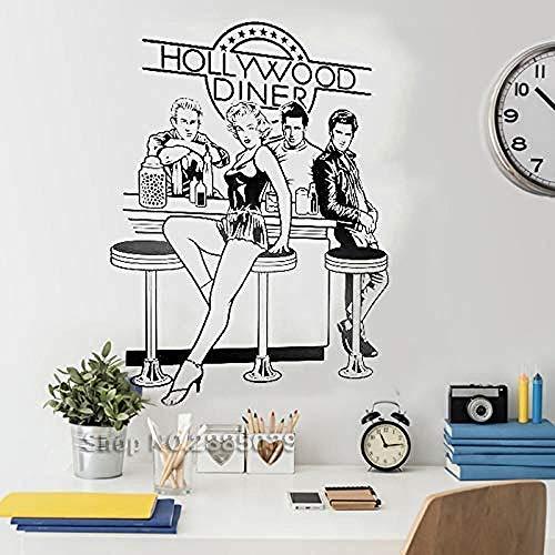 Pegatinas pared murales Hollywood Diner Sart Comedor Papel Extraíble Calcomanía Sofá Fondo Inicio 42 * 58cm