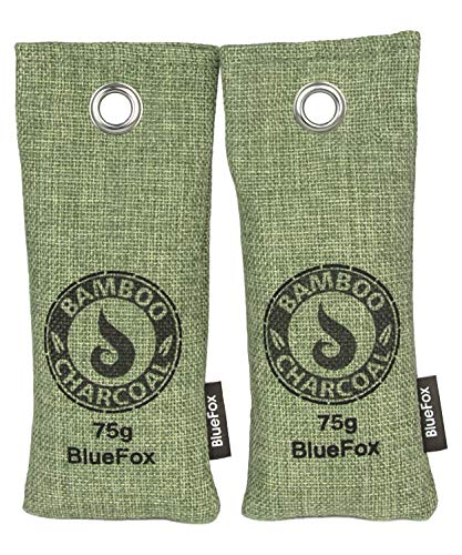 BlueFox Lufterfrischer aus Bambus Aktivkohle im 2er Set - 75g - Geruchsentferner - Luftreiniger - Entfeuchter - Für frische Schuhe - Fußgeruch entfernen - Schuh-Erfrischer - Deutsche Marke - Grün