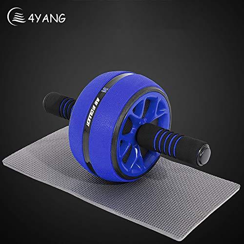 4YANG Bauchtrainer Roller, Ab Wheel, mit selbst einziehbarem Rad, AB Roller mit Rutschfester Matte für Fitness, Bauchroller, Bauchmuskeltraining, Muskelaufbau, Muskeltrainer (Blau)