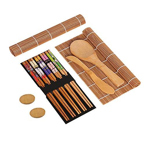 Kit per fare sushi in bambù, 11 Pezzi Sushi Kit Completo, Set di Strumenti per la Preparazione del Sushi, 2 Stuoie Sushi, 1 Scoop di Riso, 1 Coltello di bambù, 5 Paia di Bacchette e 2 piatti