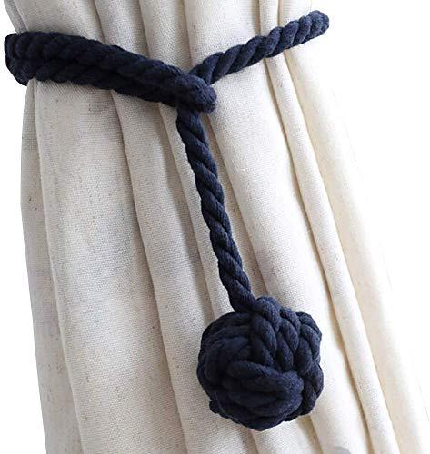 Melaluxe 4 Pack Curtain Tiebacks - Heavy Duty Curtain Rope Tieback, Handmade Rural Decorative Curtain Holdbacks (Navy Blue)