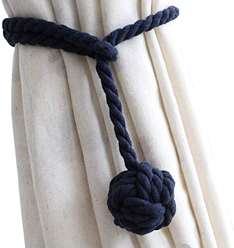 Melaluxe 4 Pack Curtain Tiebacks - Natural Cotton Curtain Rope Tieback, Handmade Rural Decorative Curtain Holdbacks (Navy Blue)