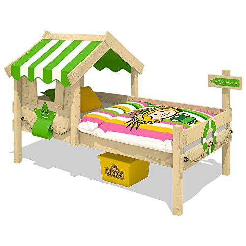 WICKEY Cama infantil CrAzY Sunny Cama de madera Cama individual 90x200 con techo y somier de madera, verde manzana