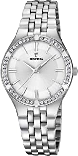 Festina F20223/1 Stainless Steel Stone Embellished Bezel Round Analog Watch for Women - Silver
