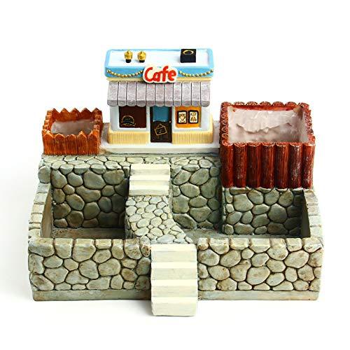 ZCRFYY Creativo Estilo Europeo micropaisaje suculentas casa en Maceta Molino de Viento choza Castillo Maceta Adornos colección de Regalos Ornamentales,Style c