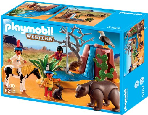 Playmobil Western Native American Children with Bear Cave