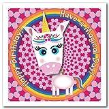 Tarjeta de origami: cuerno amarillo unicornio arco iris y flor feliz cumpleaños tener un día mágico. Cuadrado de 150 mm