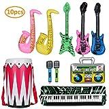 KATELUO 10 stück buntes aufblasbare Instrumente Spielzeug, Partyballons,Gitarre Saxophon Mikrofon Boom Saxophon Zubehör Geeignet zum Dekorieren von Partyballons -