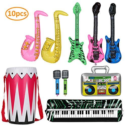 KATELUO 10 stück buntes aufblasbare Instrumente Spielzeug, Partyballons,Gitarre Saxophon Mikrofon Boom Saxophon Zubehör Geeignet zum Dekorieren von Partyballons