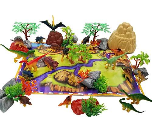 JZK 50x Mini Dinosaurier Spielzeug Set, 20x Dinosaurier + 14x Pflanzen + 15x Steine + 1x Szenengraph, Mini Dino Figuren Geschenk Dekoration für Kinder Geburtstag Party