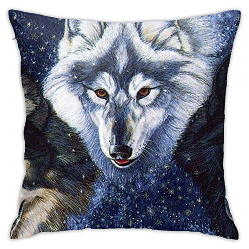 Throw Pillow Cover Cushion Cover Pillow Cases Decorative Linen Dogs Magic Wolf for Home Bed Decor Pillowcase,45x45CM