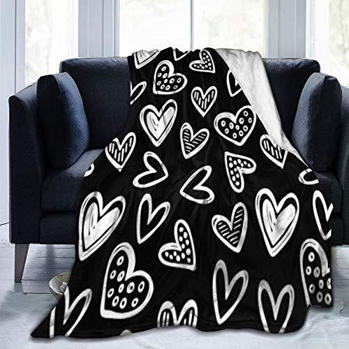 Bernice Winifred Cualquier Color Doodle Hearts Sketch on Solid Black Ultra-Soft Micro Fleece Blanket Hecho de Franela Anti-Pilling, más cómoda y cálida.80x60