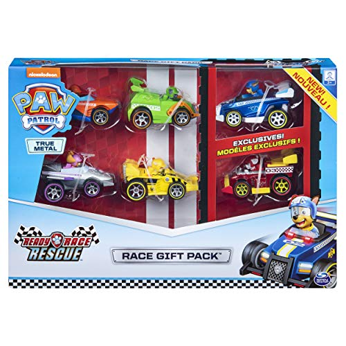 PAW PATROL- True Metal Ready Rescue Gift Pack of 6 Race Car Collectible Die-Cast Vehicles, 1:55 Scale Pack de 6 vehículos coleccionables a presión, Escala, Multicolor (Spin Master 6054522)