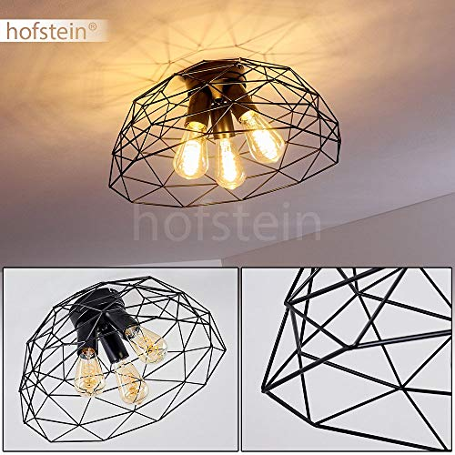 Deckenleuchte Hajom, runde Deckenlampe aus Metall in Schwarz, 3-flammig, 3 x E27-Fassung max. 25 Watt, Retro-Leuchte mit Lichteffekt durch Gitter-Optik, LED Leuchtmittel geeignet