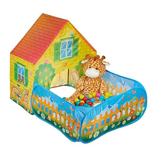 Relaxdays Tienda Campaña Infantil con Piscina Bolas, Casa Niños, Parque Juegos, Poliéster, 110 x 90 x 146 cm, Amarillo