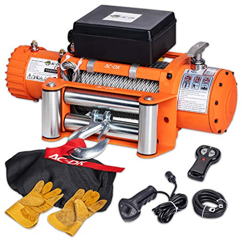 AC-DK 13000 lb. Electric Winch kit, 12V Waterproof IP67 Winch with Steel Cable, Electric Truck Winch with Fairlead, Wireless Handhold Remote Control Truck Winch, Overload Protector(Up to 13500lbs)
