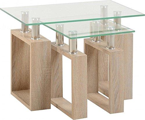 Greenheart Furniture (UK & Ireland) Milan Coffee Table. Sonoma Oak Effect Veneer/Clear Glass/Silver (Nest of Tables)