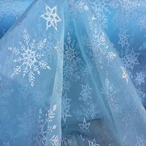 Nortex Mill Plain Blue Organza Fabric with Silver Foil Snowflakes (Per Metre)