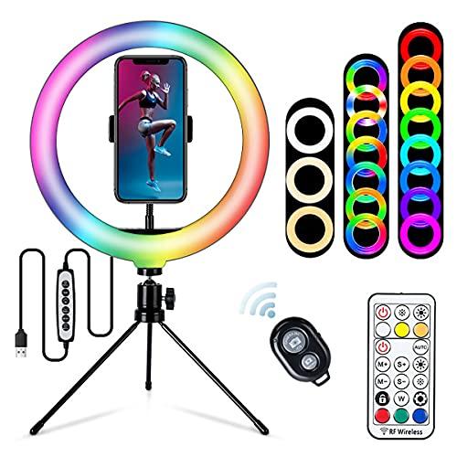 Harsso 10 pulgadas anillo de luz con trípode de teléfono móvil, 33 modos RGBTable LED anillo de luz y soporte de trípode de teléfono de la cámara con el anillo de luz para YouTube, selfie, maquillaje