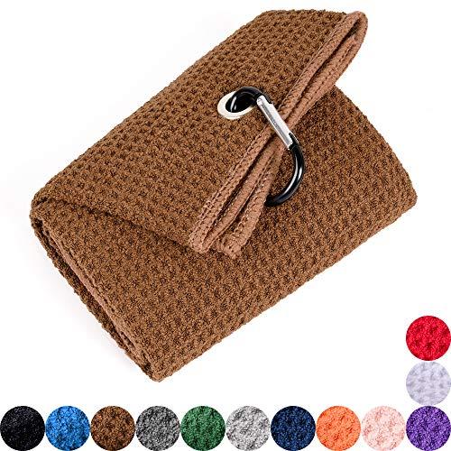 Mile High Life Tri-fold Golf Towel | Premium Microfiber Fabric | Waffle Pattern | Heavy Duty Carabiner Clip (Brown)