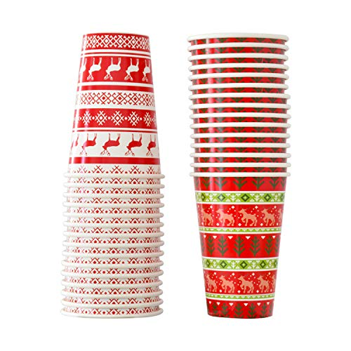 30PCS 16OZ Disposable Christmas Cup Winter New Year Cup Christmas Sweater Reindeer Design for Holiday Party Paper Drinkware