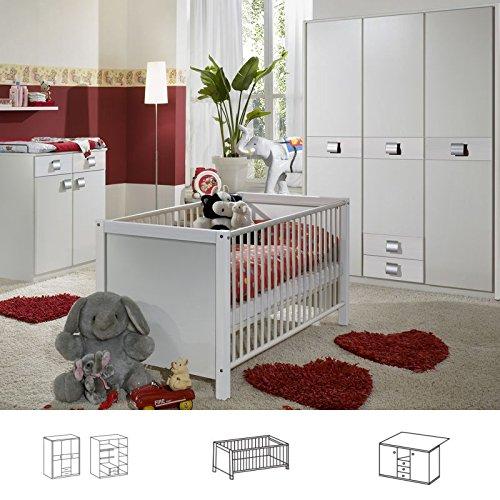 Wimex Babyzimmer Set Jalta, bestehend aus Kleiderschrank, Babybett und Wickelkommode, Liegefläche 70x140 cm, Weiß