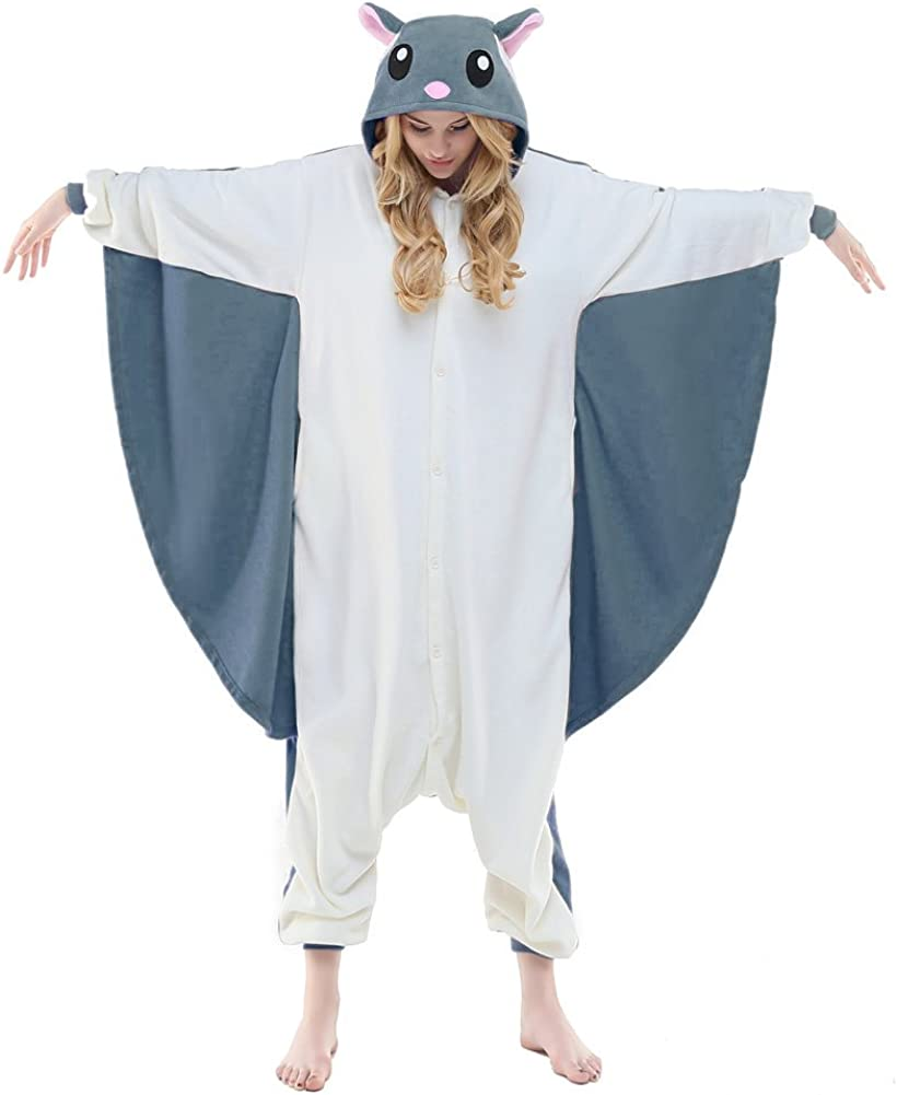 NEWCOSPLAY Adult Unisex Flying Costume Onesie Pajama Squirrel Choice Max 87% OFF