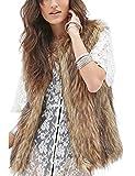 Tanming Women's Fashion Autumn And Winter Warm Short Faux Fur Vests (Medium, Grey)