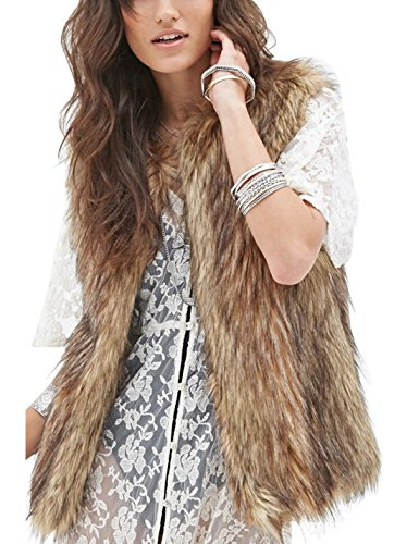 Tanming Women's Short Faux Fur Vest